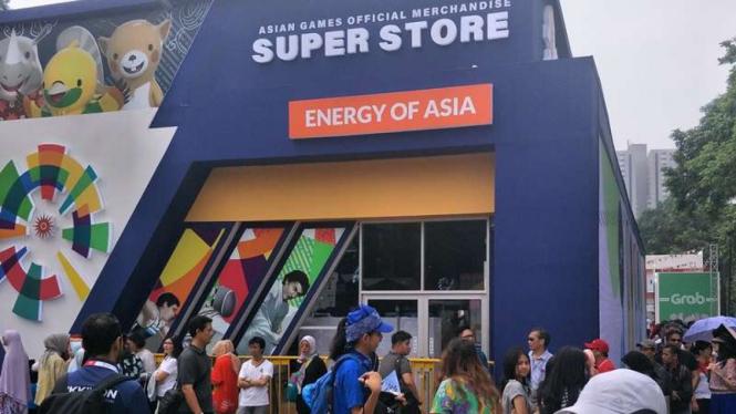Antrean di toko merchandise Asian Games 2018.