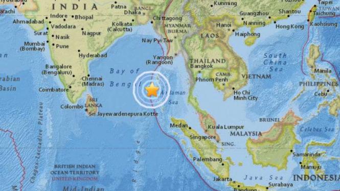 Peta lokasi gempa Laut Andaman, India.