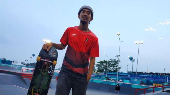 Atlet skateboard asal Bandung, Pevi Permana di ajang Asian Games 2018.