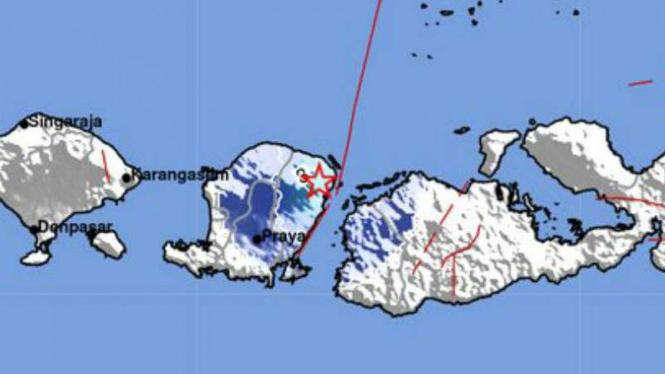 Peta lokasi gempa darat Lombok, NTB.