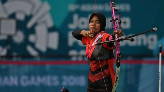 Atlet panahan Indonesia, Diananda Choirunisa, di Asian Games 2018