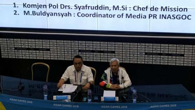 Sesi konferensi Pers CdM Asian Games 2018, Syafruddin.