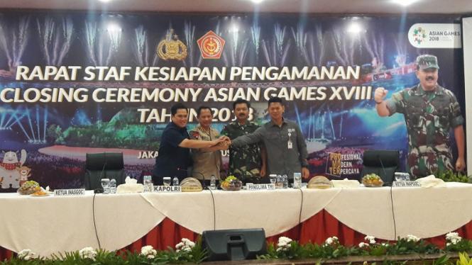 Kapolri Jenderal Pol Tito Karnavian menggelar rapat closing Asian Games