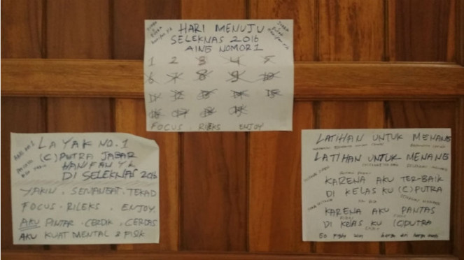Kata-kata motivasi di pintu kamar pesilat Hanifan Yudani Kusumah