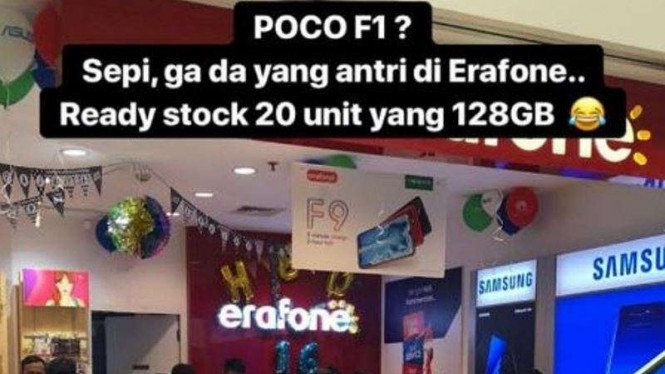 Penjualan Xiaomi Pocophone F1 sepi peminat di Erafone.