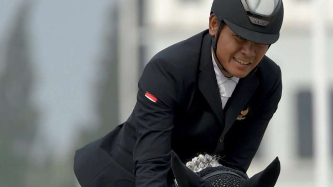 Atlet Equestrian Indonesia, Kurniadi Mustopo di Asian Games 2018.