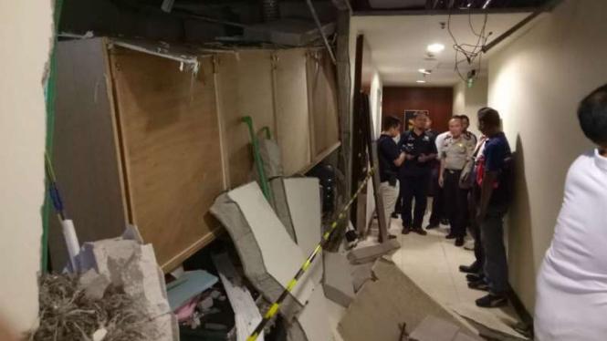 Ruangan di Apartemen Essence Darmawangsa yang rusak akibat ledakan tabung gas
