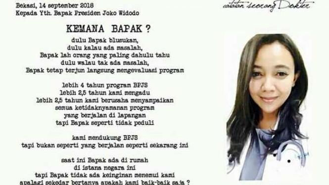 Dokter Eno Zthezia menulis surat terbuka untuk Jokowi