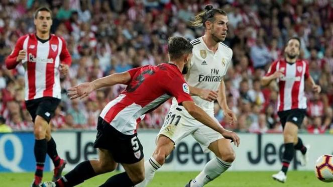 Megabintang Real Madrid, Gareth Bale, dalam laga melawan Athletic Bilbao