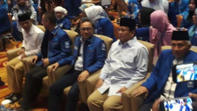 Prabowo Subianto menghadiri workshop nasional Pembekalan Caleg PAN.