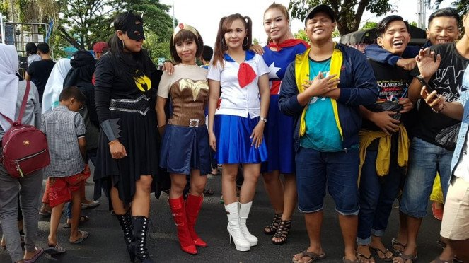 Superhero di Car Free Day di Pandaan, Jawa Timur