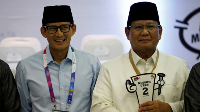 Calon presiden dan wakil presiden nomor urut 02, Prabowo Subianto-Sandiaga Uno