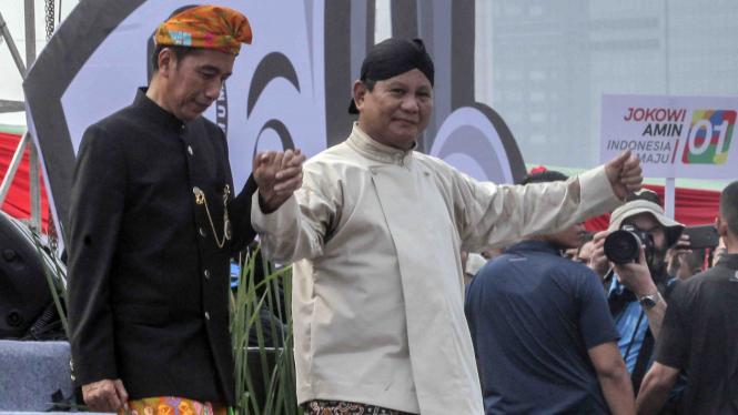 Capres nomor urut 1 Joko Widodo dan Capres nomor urut 2 Prabowo Subianto.