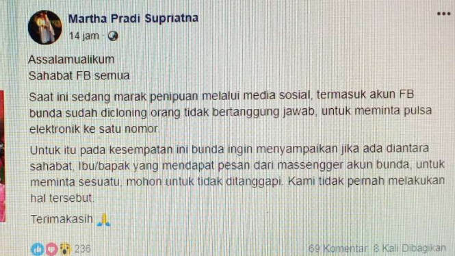 Penjahat Minta Pulsa Palsukan Akun Fb Istri Wakil Walikota Depok