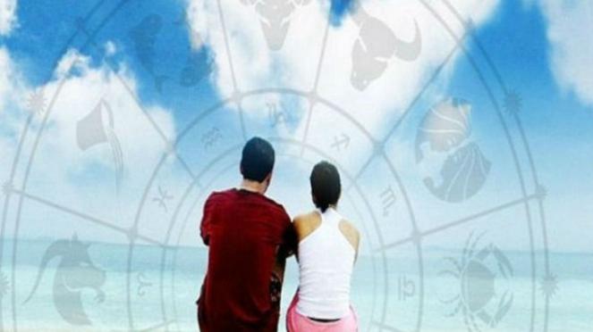 Ilustrasi pasangan dan zodiak.