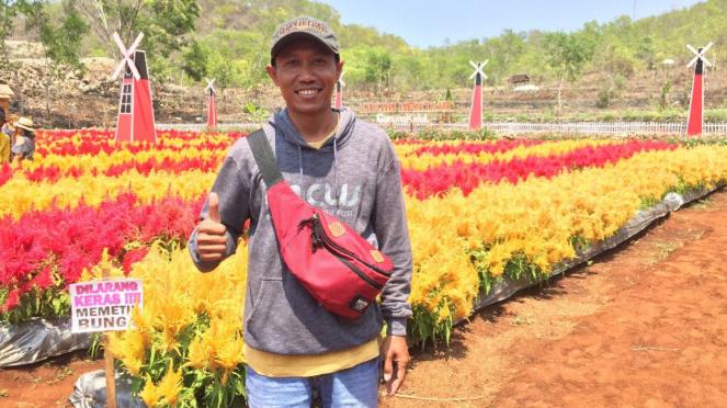 Barriyanto, pemilik kebun bunga Kukup Mentari Gunung Kidul
