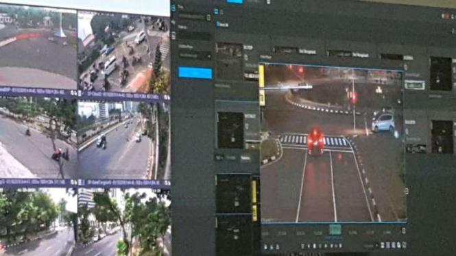 Pantauan CCTV uji coba tilang elektronik di Jakarta, Senin, 1 Oktober 2018.