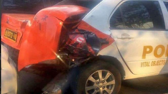 Kondisi mobil Pamobvit yang ditabrak Simic.