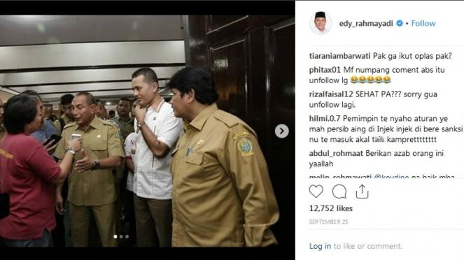 Instagram Ketua Umum PSSI, Edy Rahmayadi