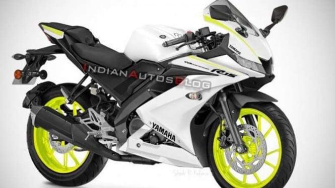 Yamaha R15 dengan warna putih. Rendering.