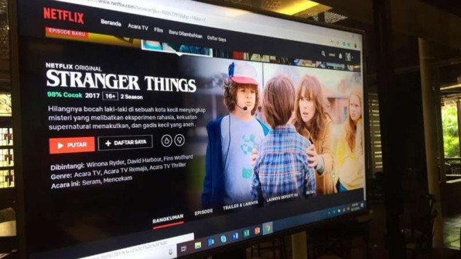 Tayangan Netflix dalam subtitle bahasa Indonesia.