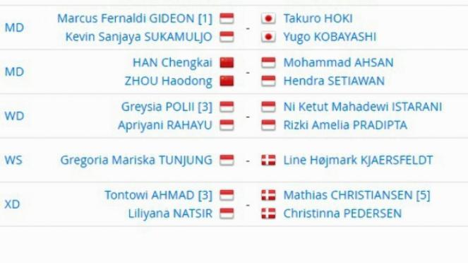 Jadwal laga wakil Indonesia di perempat final Denmark Terbuka 2018