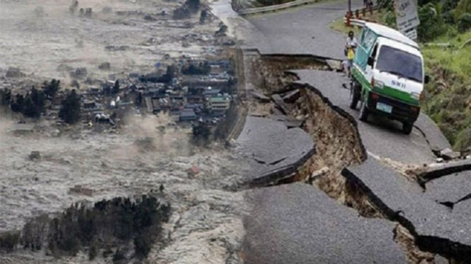 Ilustrasi gempa bumi besar.