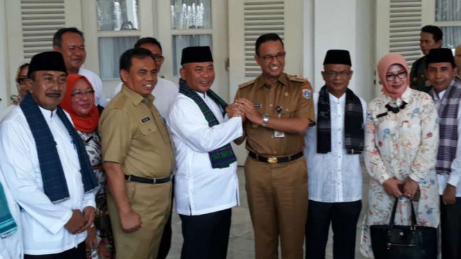 Gubernur DKI Jakarta Anies Baswedan bertemu Wali Kota Bekasi