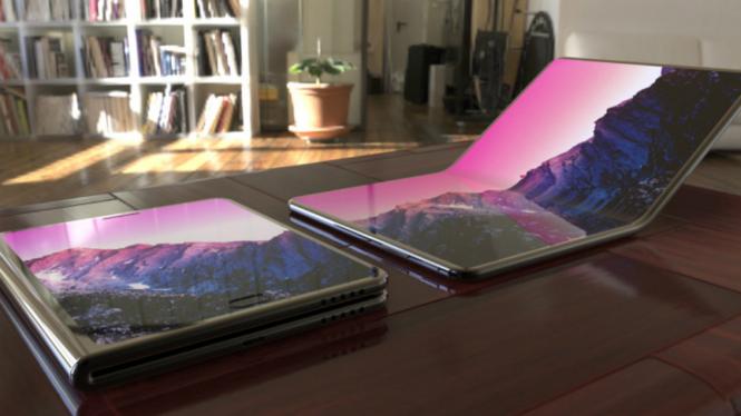 Ilustrasi laptop lipat Samsung