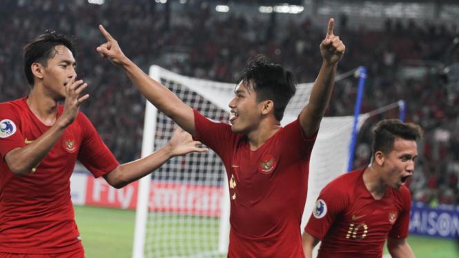 Timnas Indonesia U-19 saat menang atas Uni Emirat Arab di Piala Asia 2018.