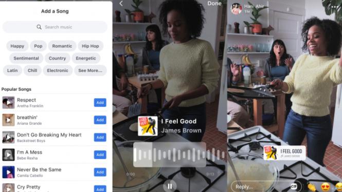 Tampilan antarmuka aplikasi musik Facebook pesaing TikTok
