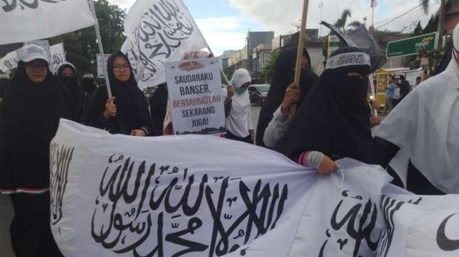 Peserta aksi bela Tauhid di Banda Aceh, Kamis 25 Oktober 2018.