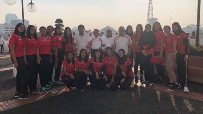 Peluncuran Tim Putri Bola Voli Bank Jatim jelang Livoli 2018.