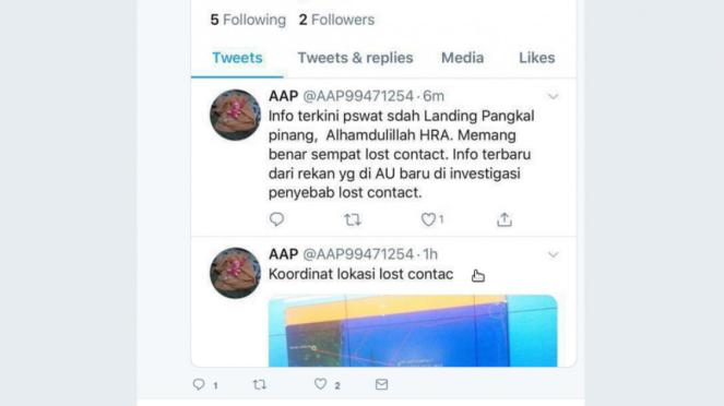 Hoax yang menyatakan pesawat Lion Air JT610 sudah mendarat di Pangkal Pinang