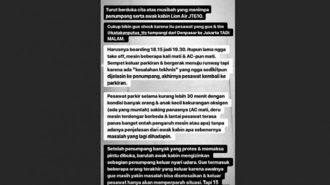 Instagram story @conchizzlin soal pesawat Lion Air JT 610 (1)