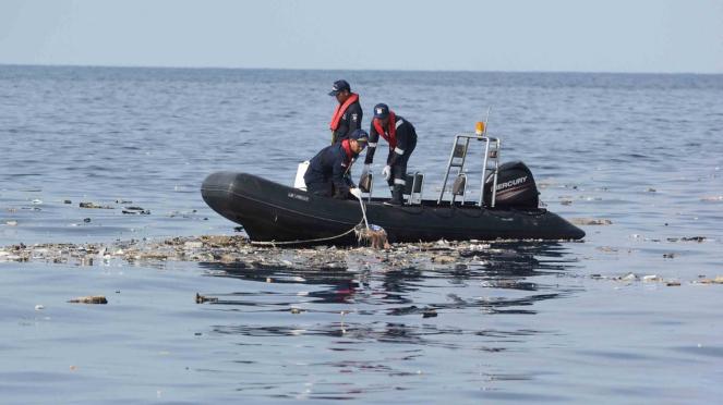 Petugas Tim SAR melakukan pencarian pesawat Lion Air JT 610 di perairan Karawang, Jawa Barat