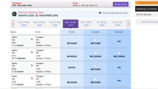 Banting Harga Tiket Lion Air Jakarta Singapura Cuma Rp150