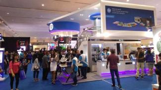 Suasana Indocomtech 2018 di Jakarta Convention Center.