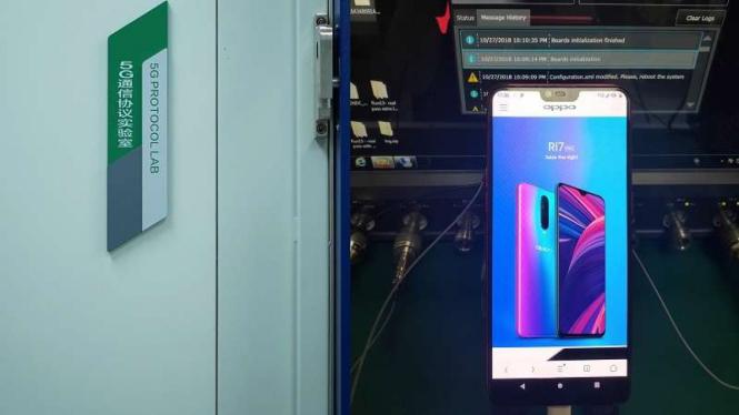 Oppo R15 saat digunakan untuk mengetesan jaringan 5G di Tiongkok