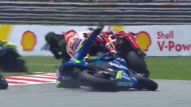 Iannone kecelakaan di seri MotoGP Malaysia.