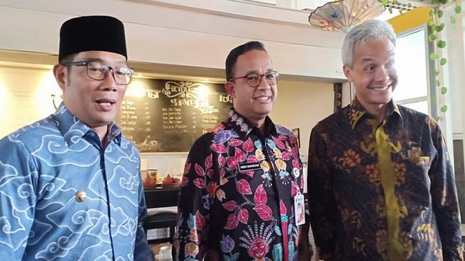 Anies Baswedan, Ganjar Pranowo dan Ridwan Kamil di Balai Kota