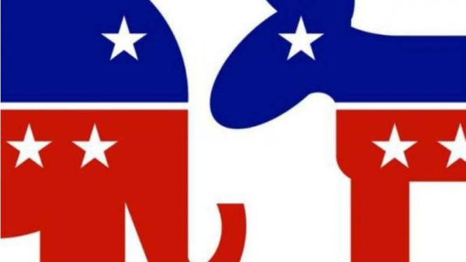 Simbol Partai Demokrat AS dan Partai Republikan AS