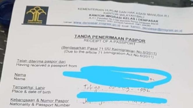 Surat tanda terima paspor Miyabi