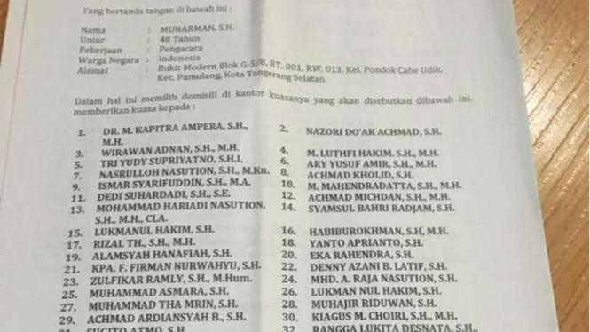 Surat kuasa Habib Rizieq Shihab kepada Kapitra Ampera.