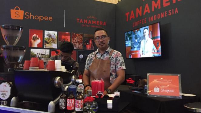 Booth Shopee dan Tanamera Cofee Indonesia di WCCE 2018.