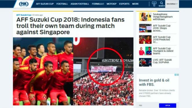Pemberitaan tentang spanduk suporter timnas Indonesia di Piala AFF 2018
