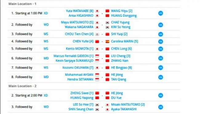 Jadwal laga semifinal Fuzhao China Terbuka 2018