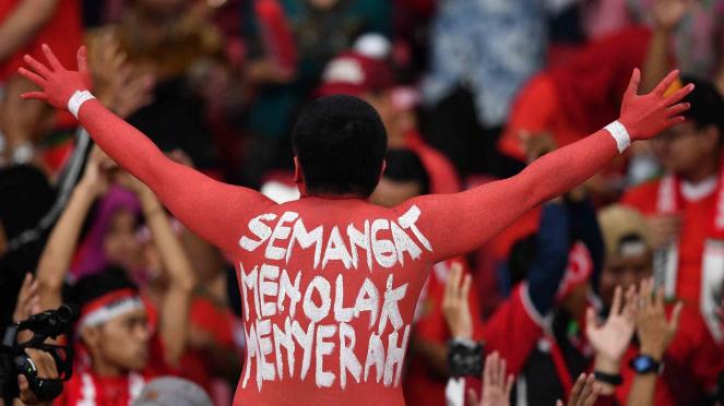 Ilustrasi suporter Timnas Indonesia.