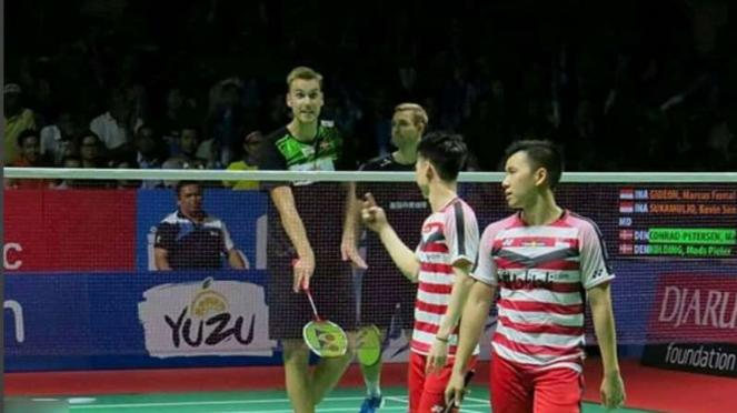 Kevin/Marcus vs Conrad/Kolding di Indonesia Terbuka 2018.