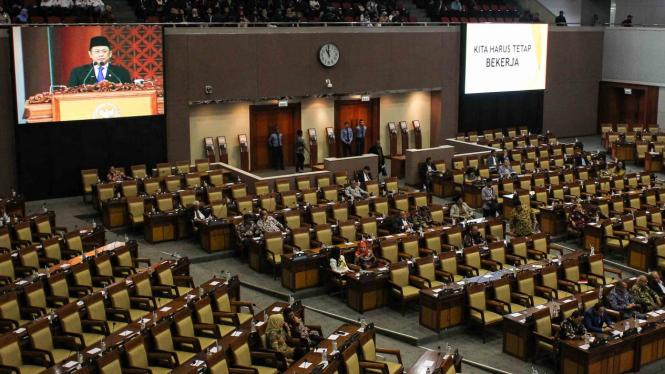 Suasana berlangsungnya Rapat Paripurna ke-8 Pembukaan Masa Persidangan II Tahun Sidang 2018-2019 di Gedung Nusantara II, Kompleks Parlemen Senayan, Jakarta